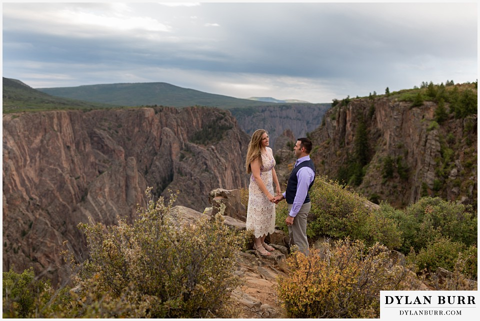 black canyon colorado elopement wedding adventure newlyweds at canyon