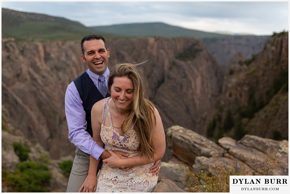 black canyon colorado elopement wedding adventure a happy bride and groom laughing