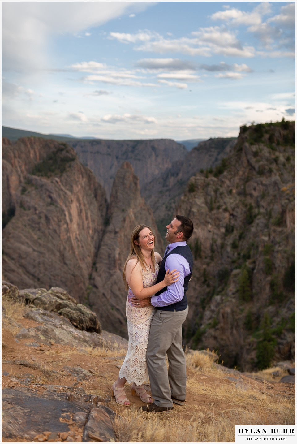 black canyon colorado elopement wedding adventure bride and groom laughing
