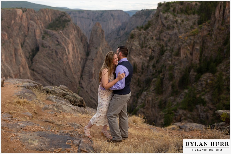 black canyon colorado elopement wedding adventure bride and groom dancing together