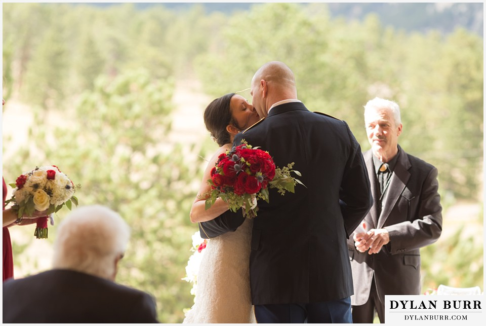 black canyon inn wedding estes park colorado first kiss just married