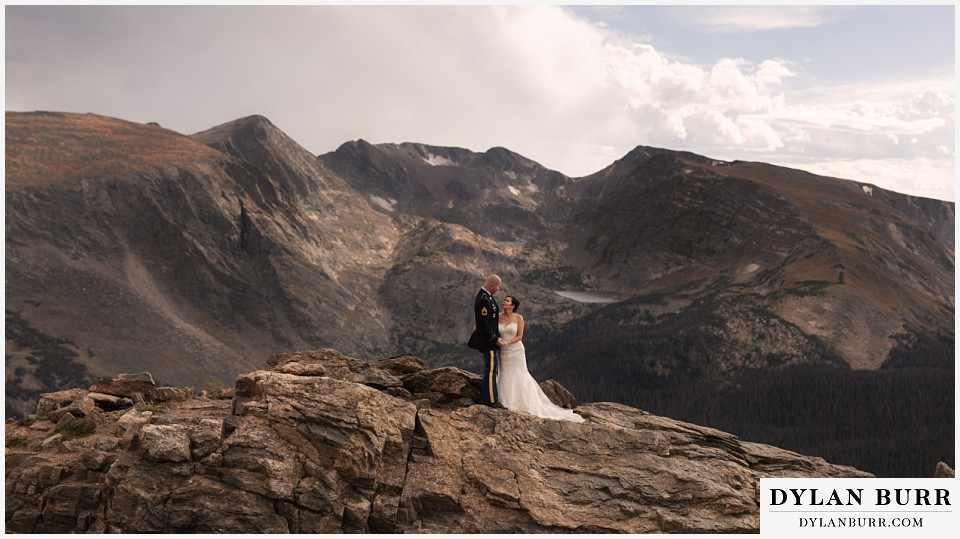 rocky mountain national park wedding colorado bride and groom with mountains in background