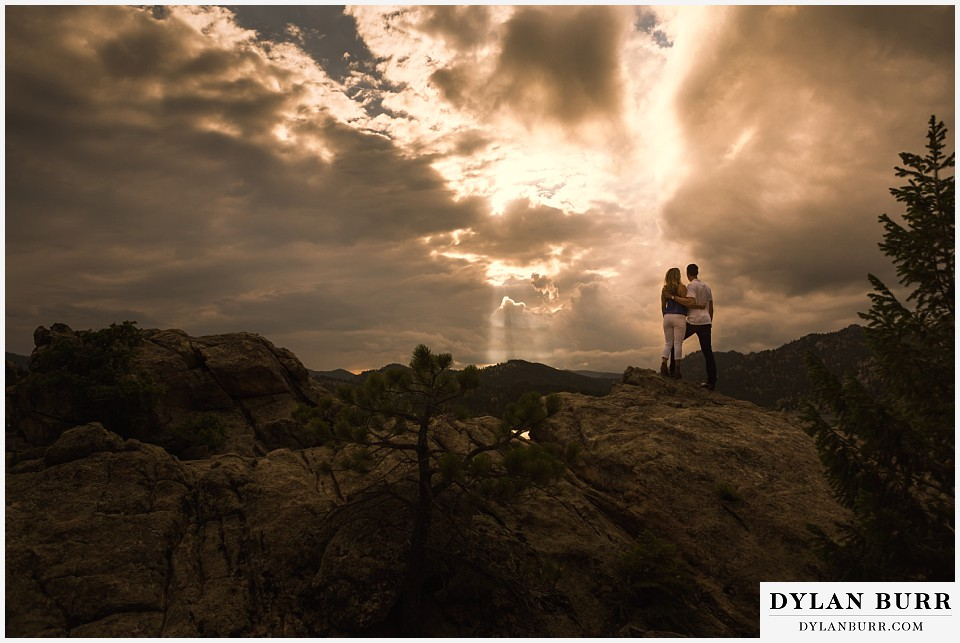 boulder sunset engagement session on mountain top lake