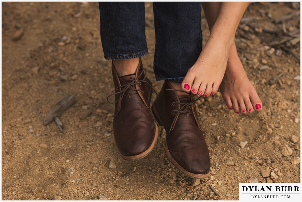 boulder sunset engagement session shoes and nail polish