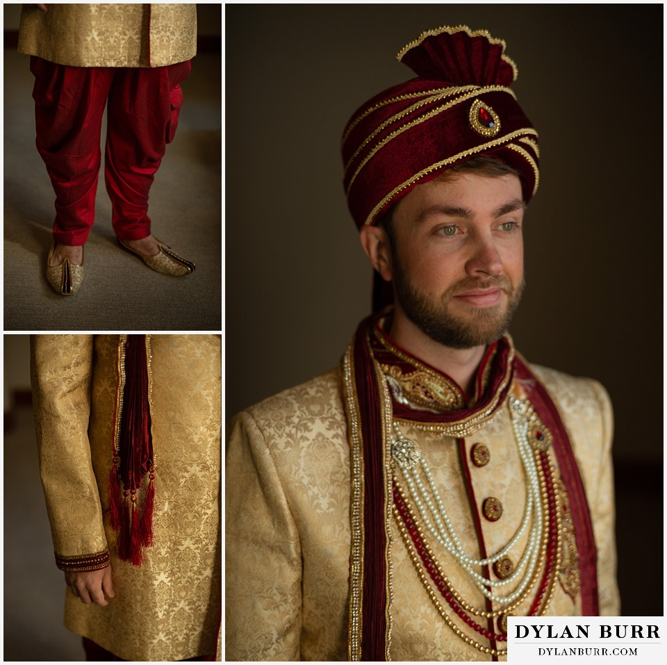 cielo at castle pines wedding colorado mountain wedding groom all dressed and ready for barat