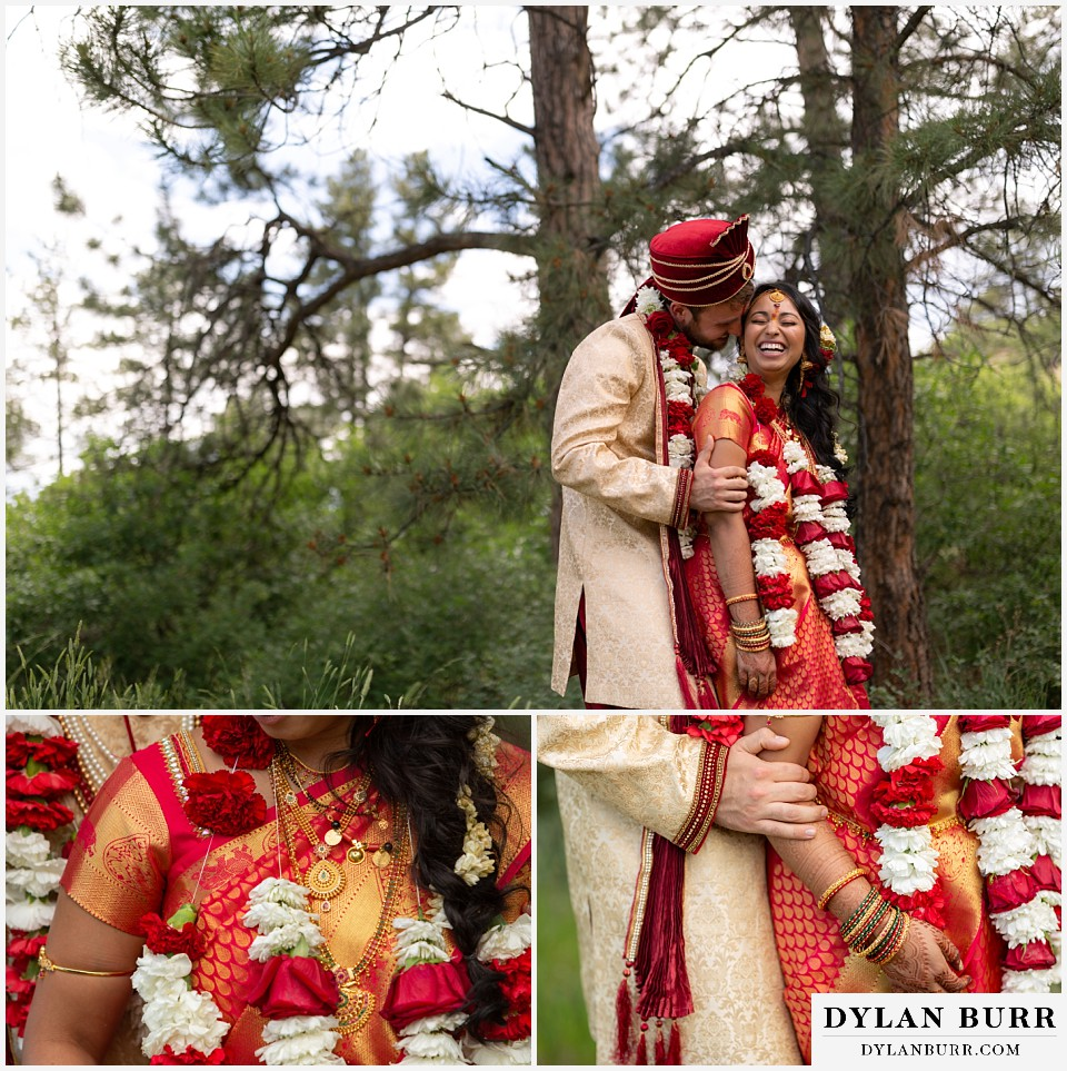 cielo at castle pines wedding colorado mountain wedding hindu wedding bride and groom in mountains with close up details of jewelry