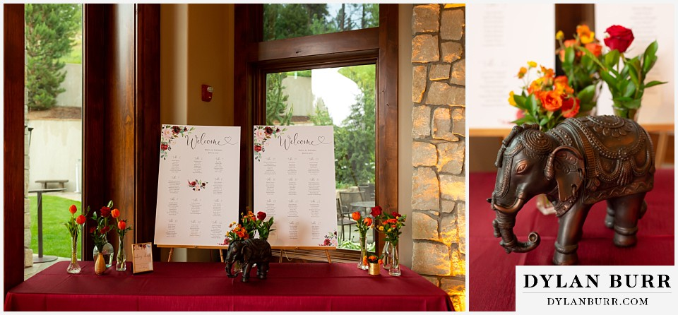 cielo at castle pines wedding colorado mountain wedding table seating chart and elephant statue