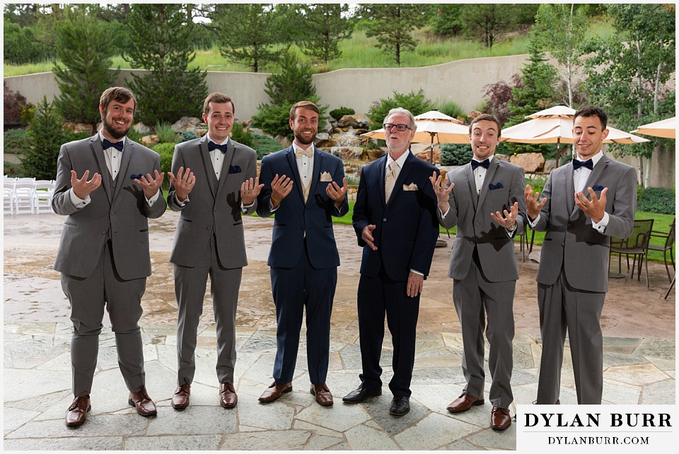 cielo at castle pines wedding colorado mountain wedding groomsmen don't know what to do with hands