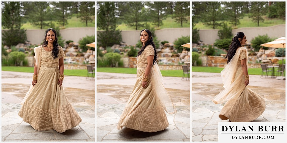 cielo at castle pines wedding colorado mountain wedding hindu bride dancing and twirling dress