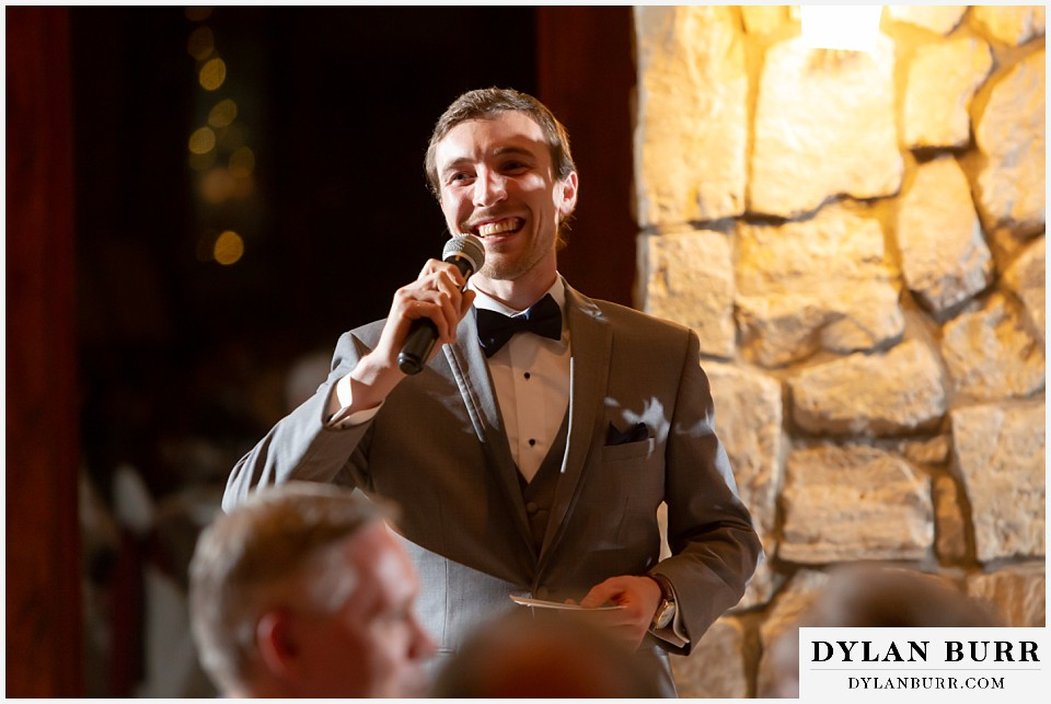 cielo at castle pines wedding colorado mountain wedding best man giving toast