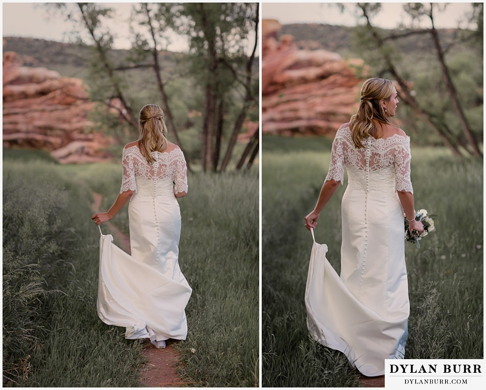 colorado bridal portrait session red rocks walking with bouquet