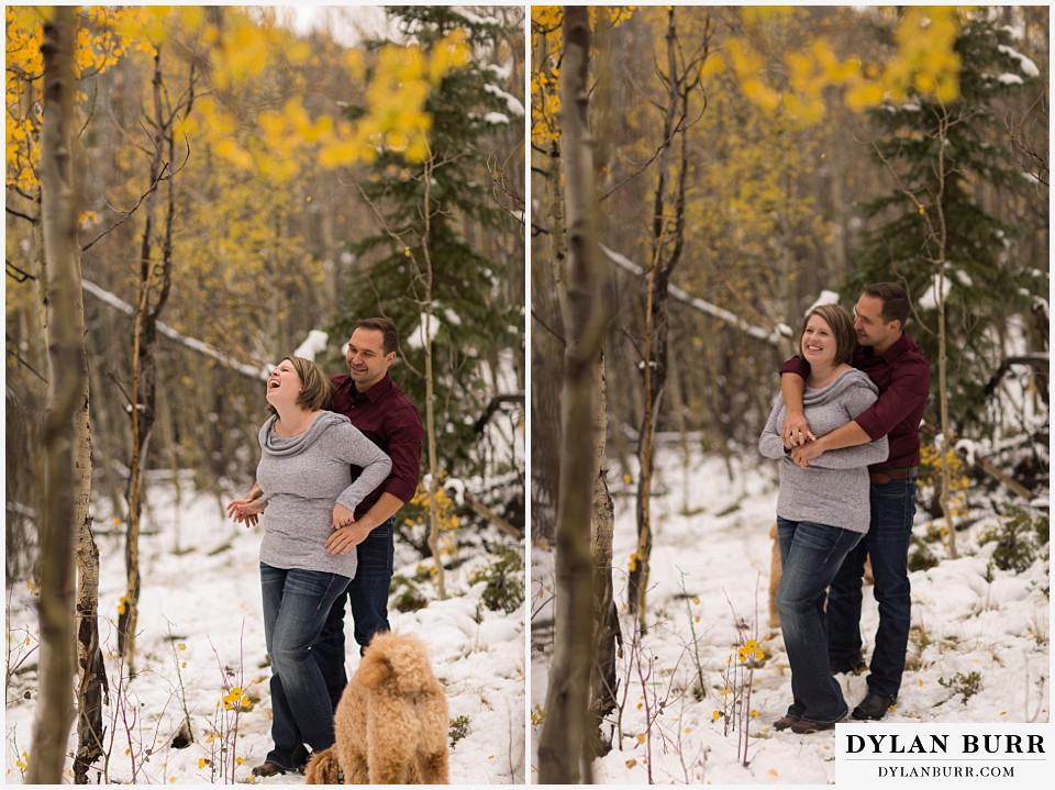 colorado mountain engagement session laughing together