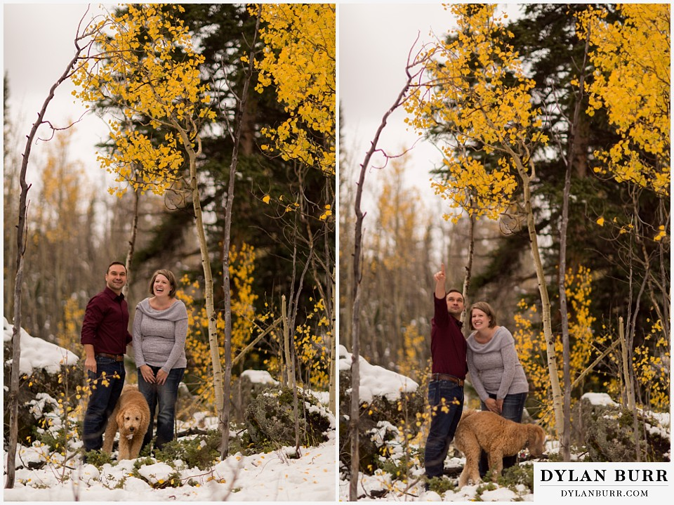 colorado mountain engagement session goofy fun groom