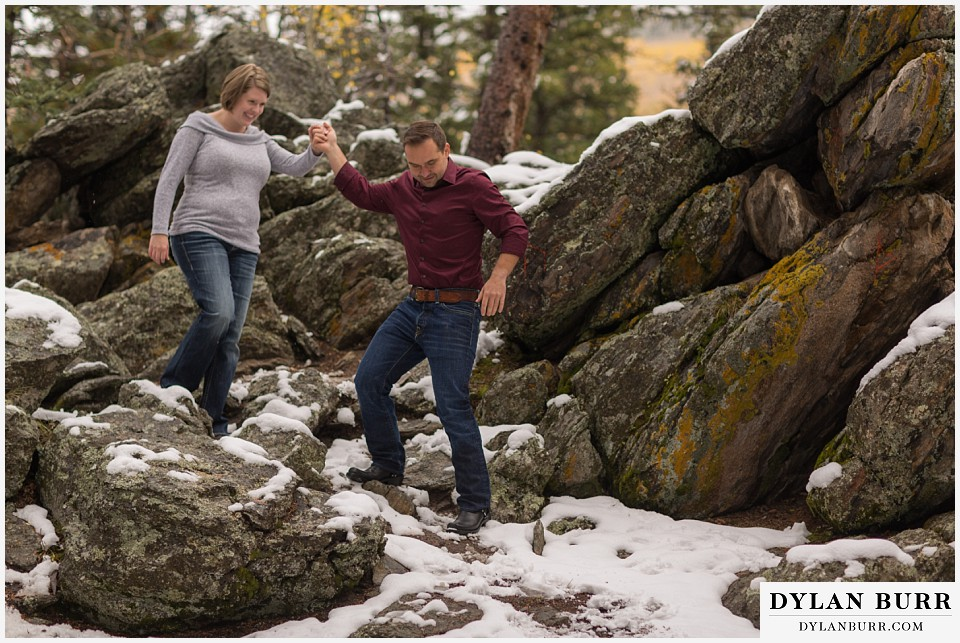 colorado mountain engagement session couple hiking