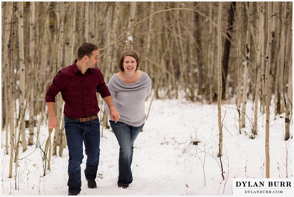 colorado mountain engagement session aspen trees with snow