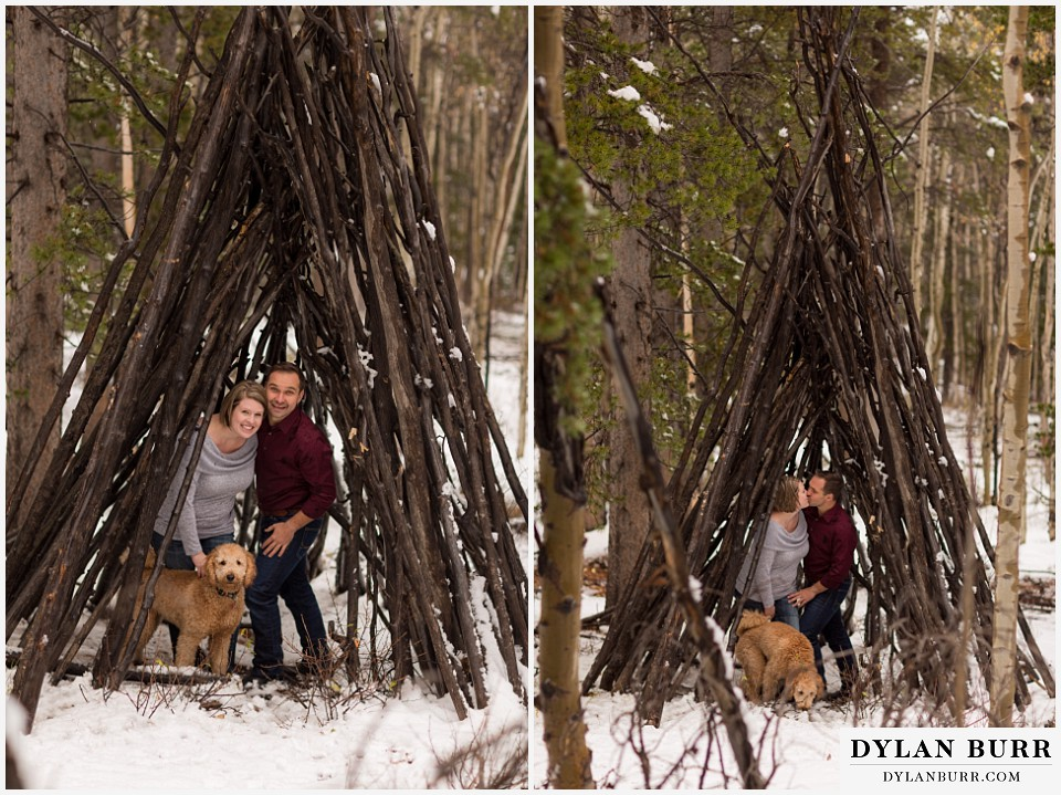 colorado mountain engagement session handmade stick branch teepee tipis