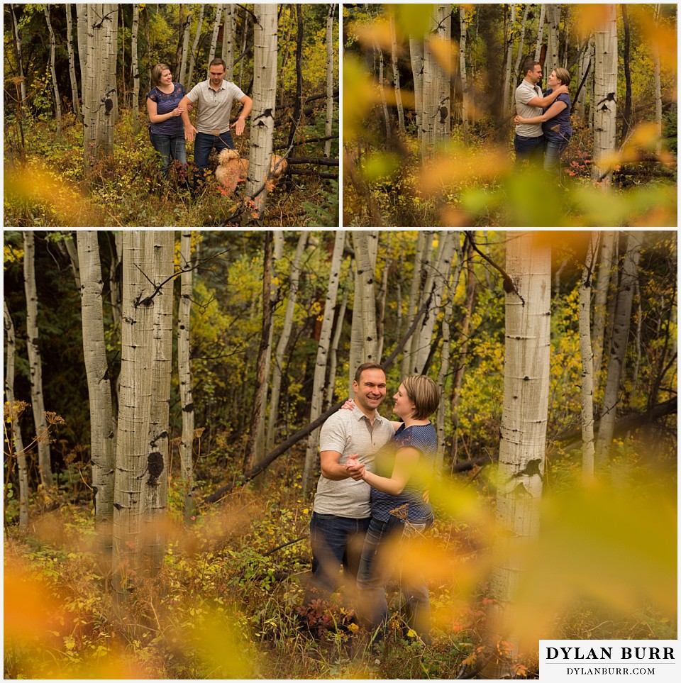 colorado mountain engagement session dacing and having fun