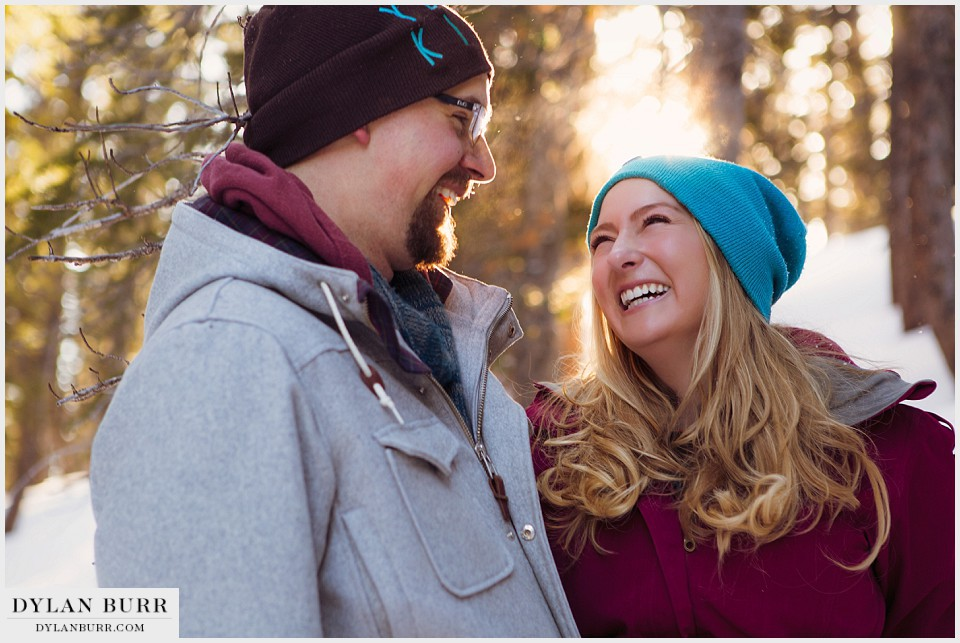 colorado mountain engagement photos happy laughter