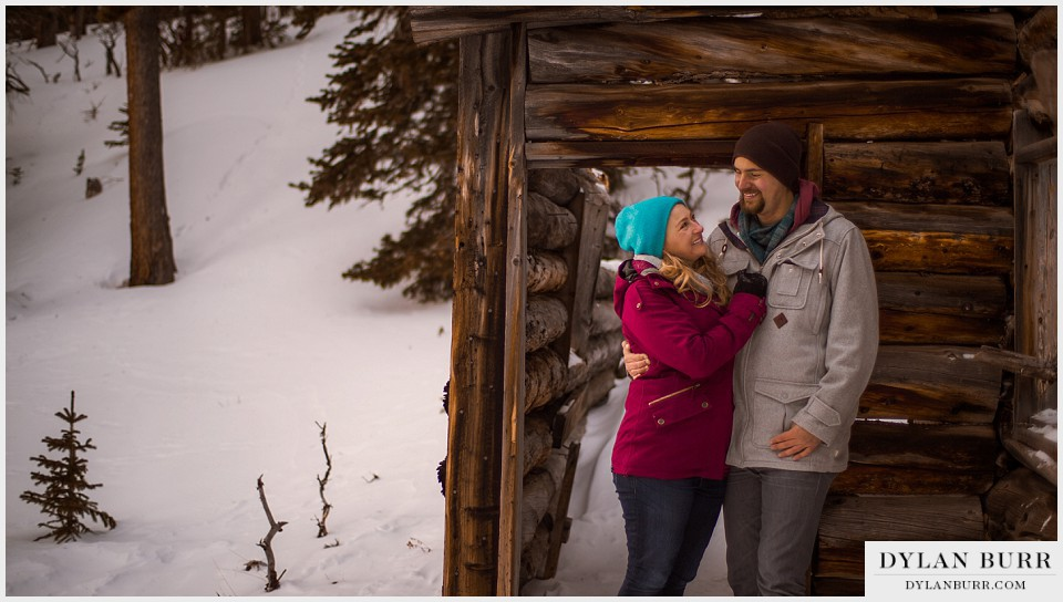 colorado mountain engagement photos old cabin