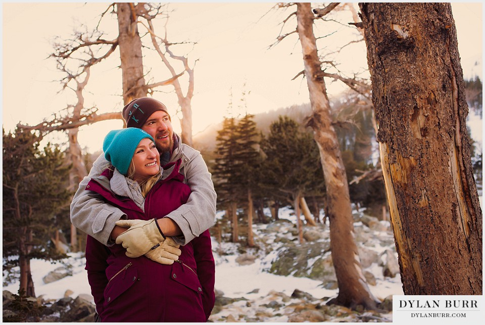 colorado mountain engagement photos winter