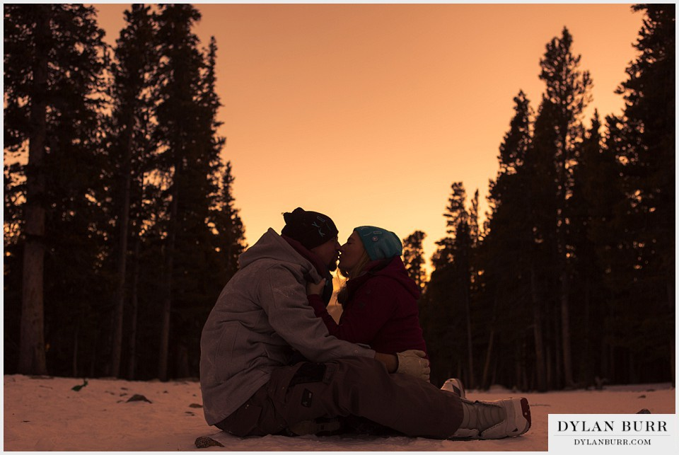 colorado mountain winter engagement photos sunset