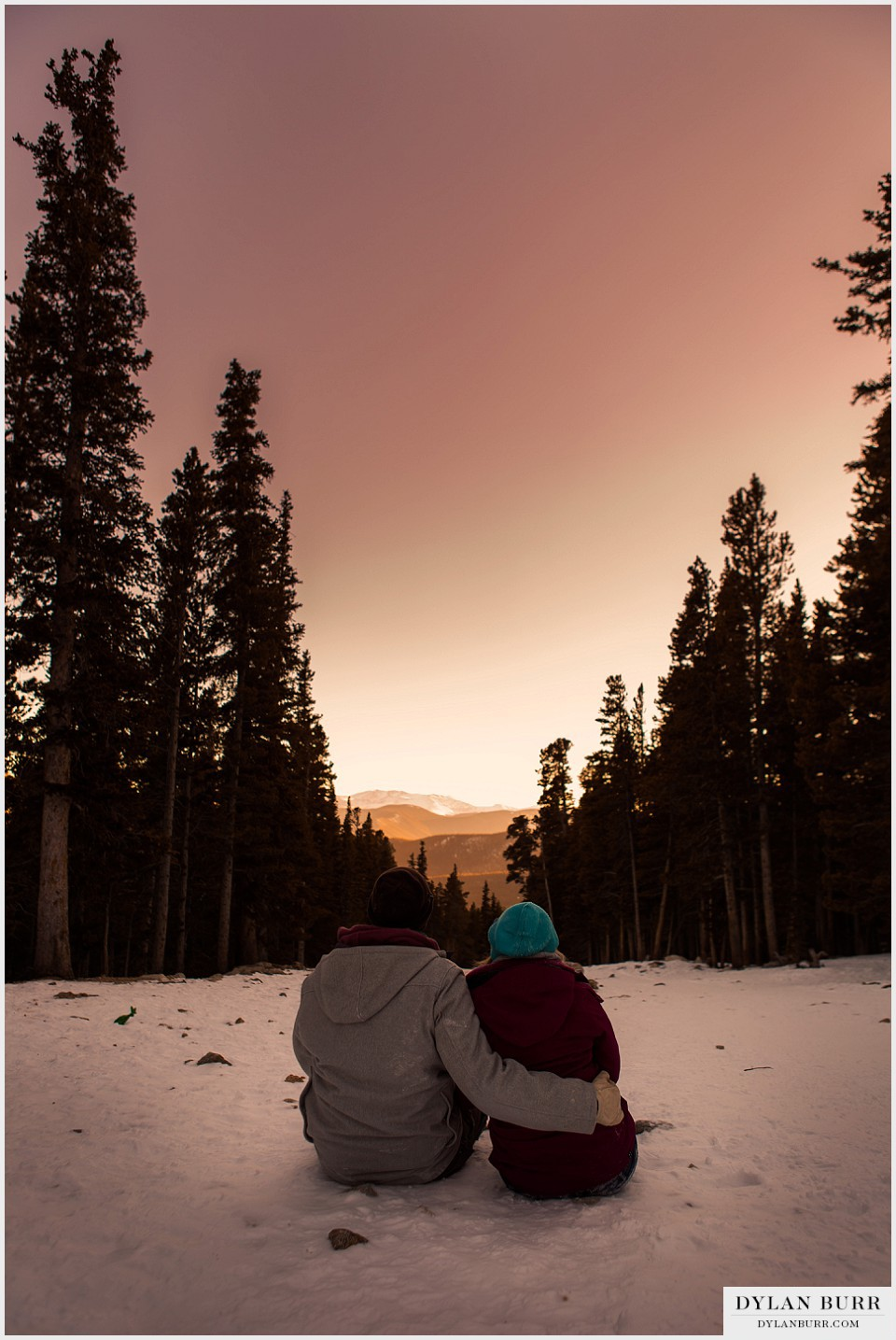colorado mountain winter sunset engagement photos