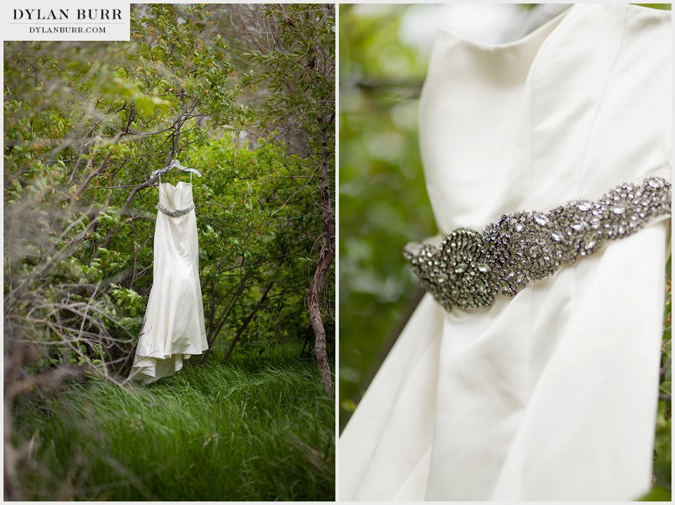 brides dress in tree ellis ranch wedding