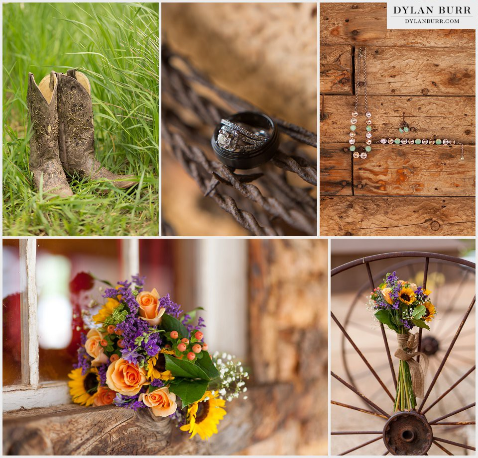 ellis ranch wedding details wagon wheel ring shot bouquet