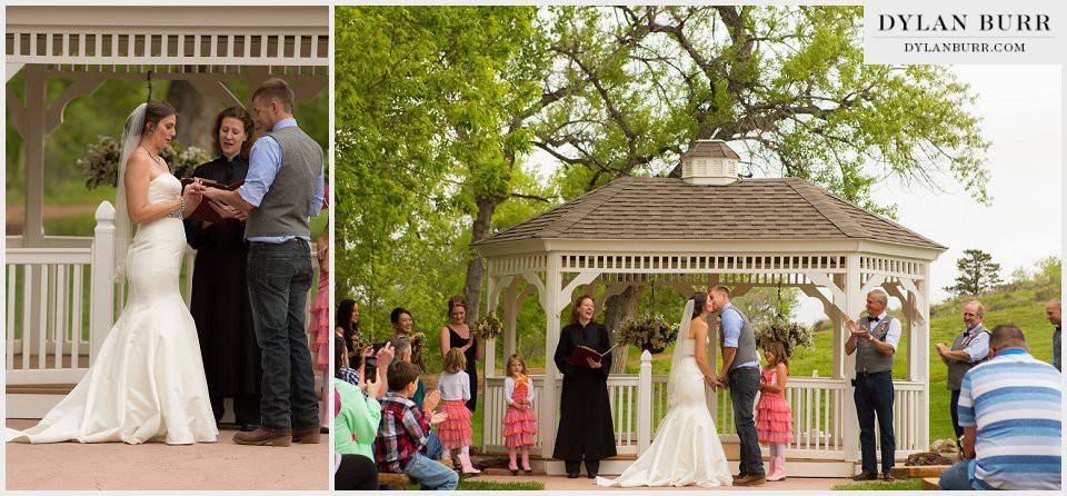 first kiss wedding ceremony ellis ranch loveland colorado