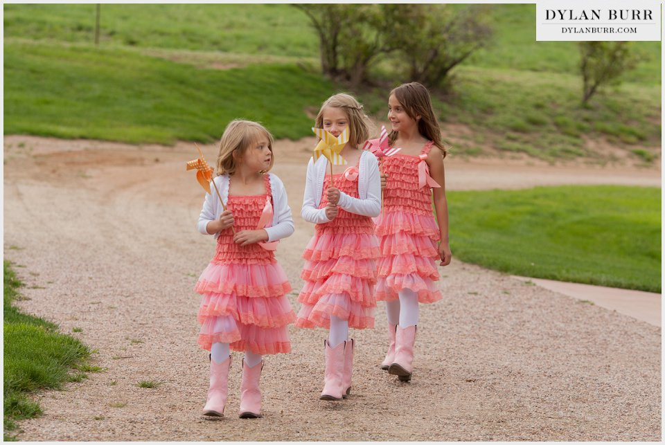 flower girls pinwheels loveland wedding ellis ranch