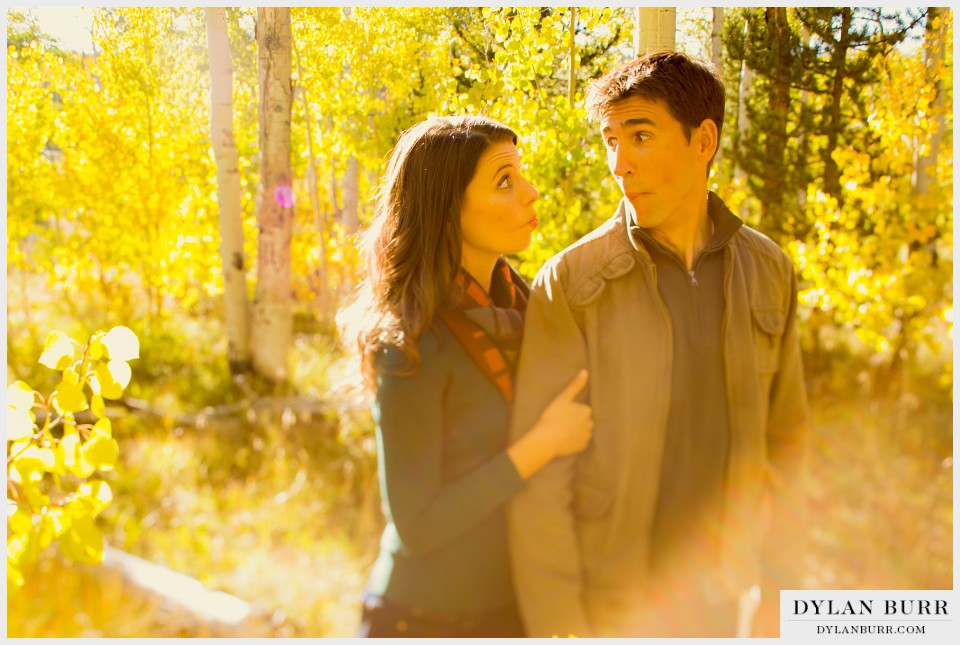 funny engagement photos aspen trees colorado