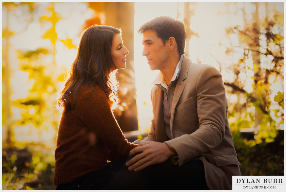 romantic sunset engagement photography colorado
