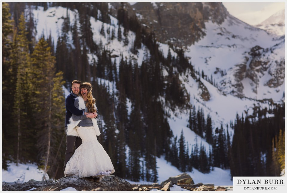 colorado winter wedding anniversary estes park dream lake