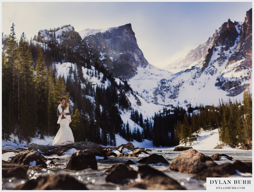 estes park colorado winter wedding anniversary bride
