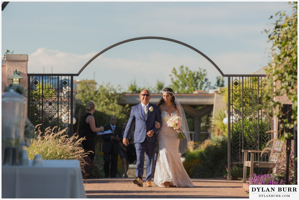 colorado wedding photographer denver botanic gardens bride father ceremony