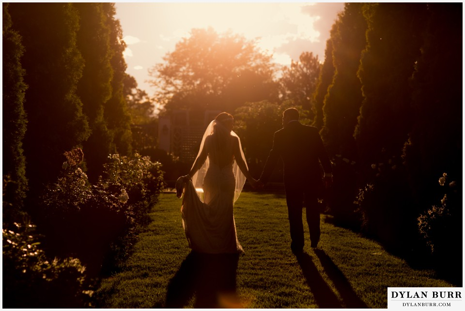 colorado wedding photographer denver botanic gardens sunset wedding photos
