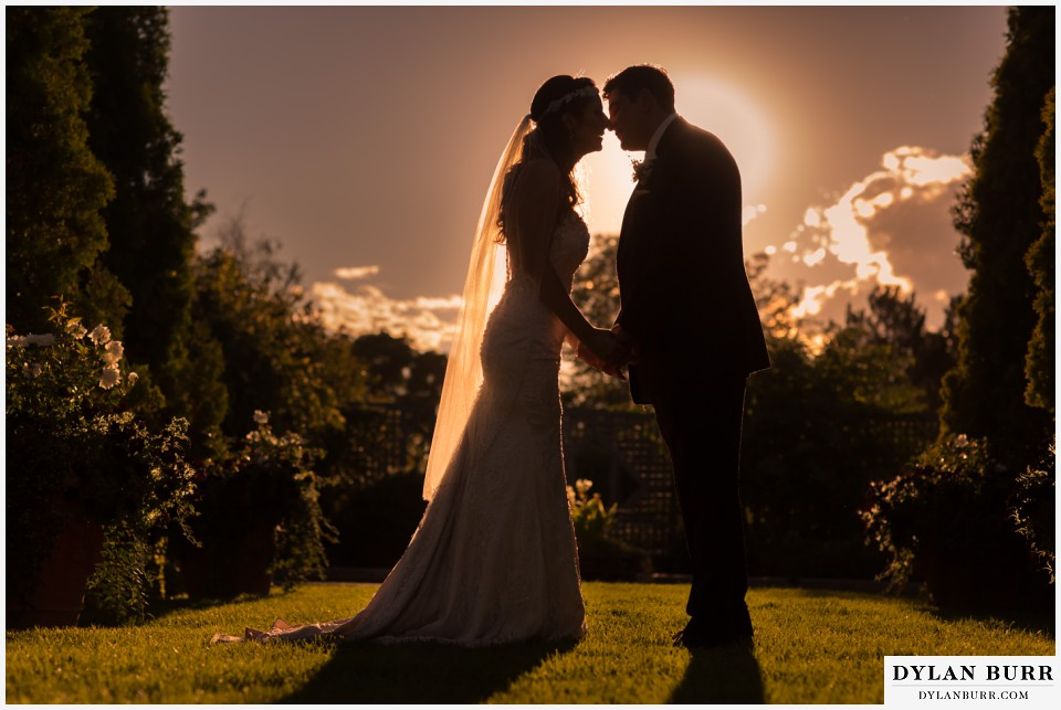 colorado wedding photographer denver botanic gardens sunset wedding pictures