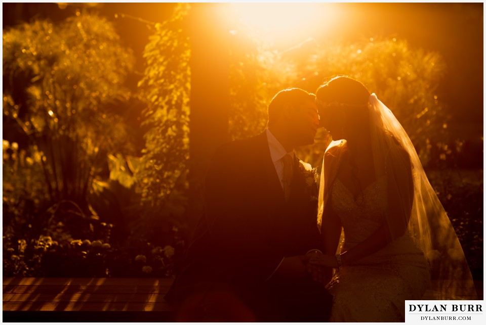 colorado wedding photographer denver botanic gardens sunset wedding