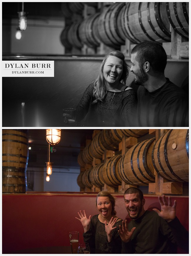 denver engagement photographer stranahans whiskey barrels