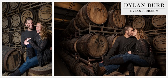 denver engagement photos stranahans colorado whiskey rackhouse barrels