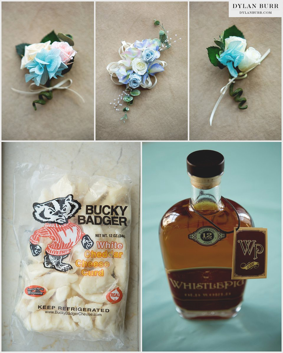 destination chicago wedding cheese curds whistle pig whiskey boutineer