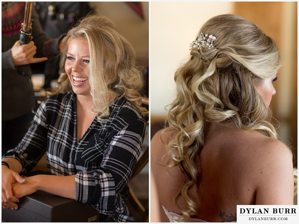 devils thumb ranch wedding in winter bride getting ready