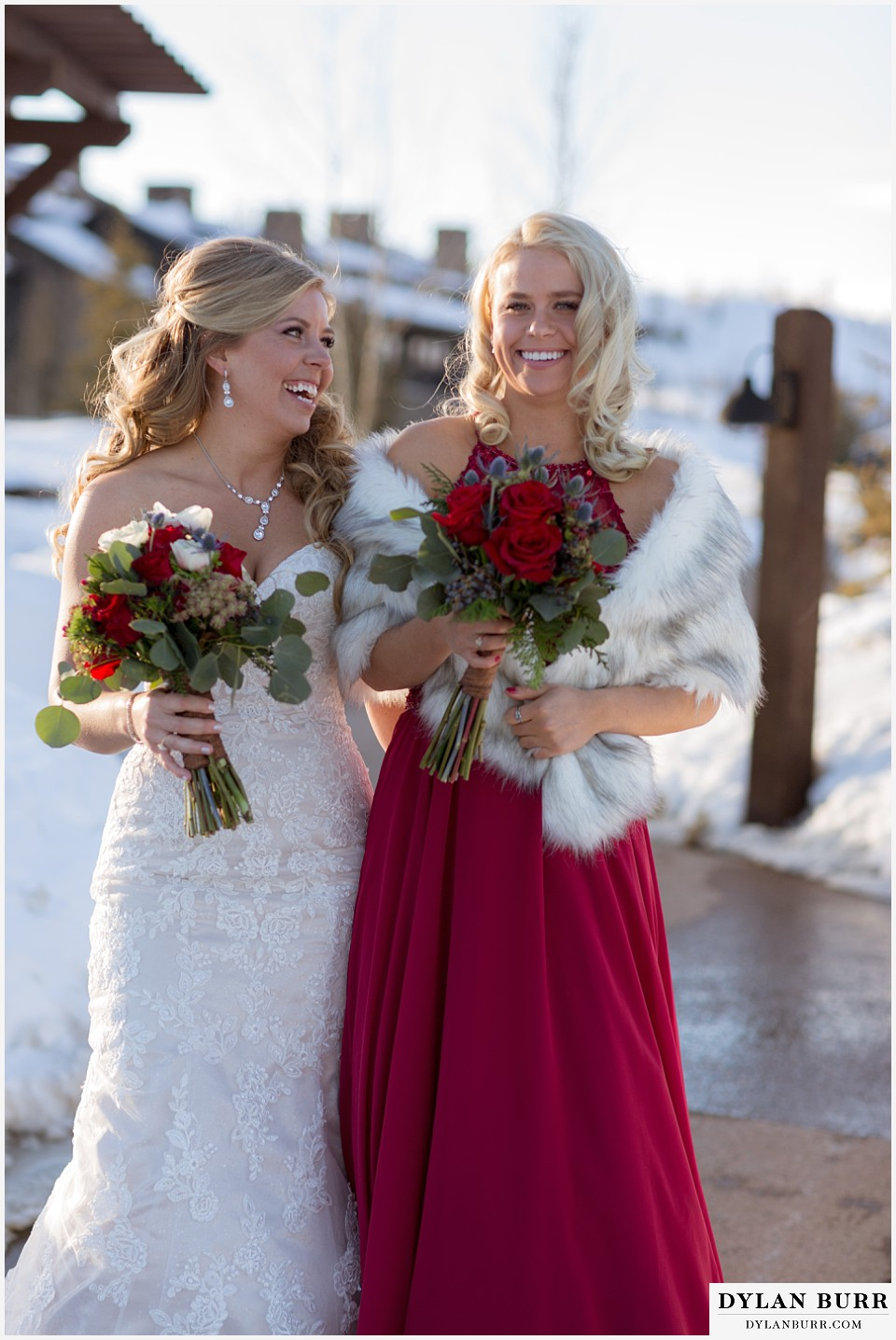 devils thumb ranch wedding in winter bride maid of honor sisters