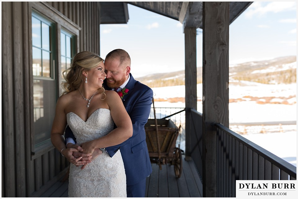devils thumb ranch wedding in winter first look mountain view