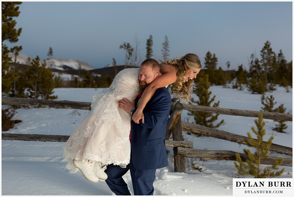 devils thumb ranch wedding in winter fun couple