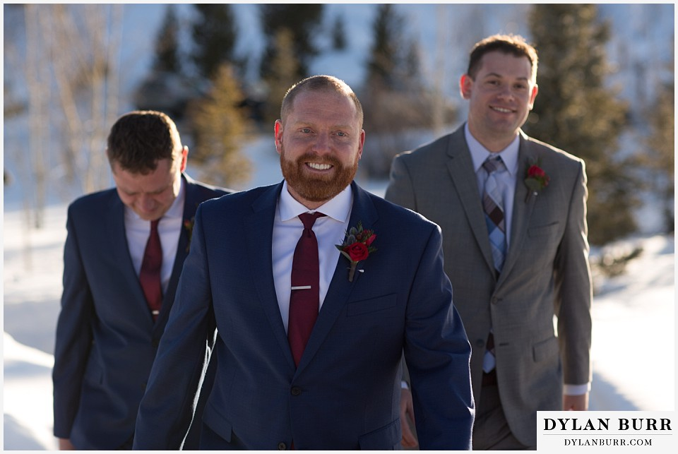 devils thumb ranch wedding in winter groom and groomsmen