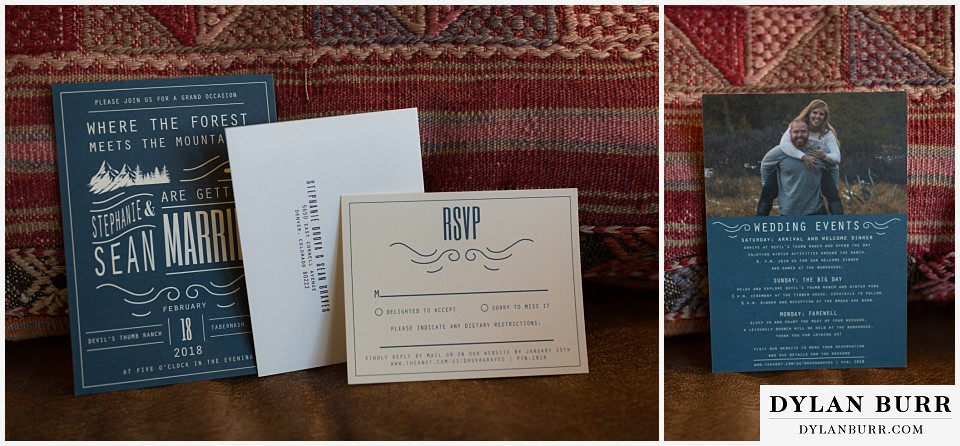 devils thumb ranch wedding in winter invitations