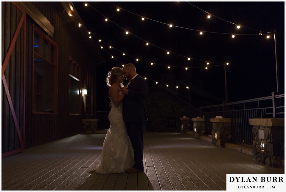 devils thumb ranch wedding in winter night photos
