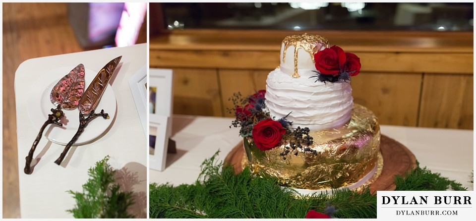 devils thumb ranch wedding in winter reception cake