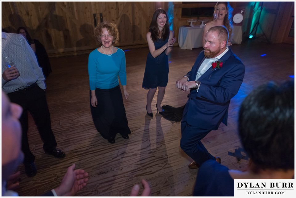 devils thumb ranch wedding in winter reception party dance moves